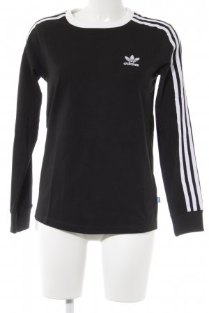 Adidas Longshirt schwarz-weiß Schriftzug gedruckt sportlicher Stil