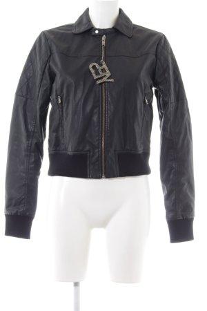 Adidas NEO Kunstlederjacke schwarz schlichter Stil