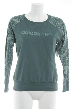 Adidas NEO Kraagloze sweater cadet blauw gedrukte letters atletische stijl