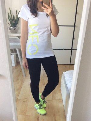 adidas neo T-Shirt Sport Freizeit weiß neongelb Gr. S