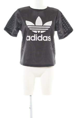 Adidas Mesh Shirt black-white printed lettering casual look