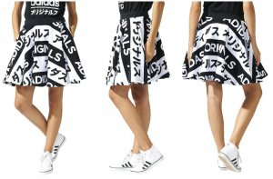 Adidas Midi Skirt white-black cotton