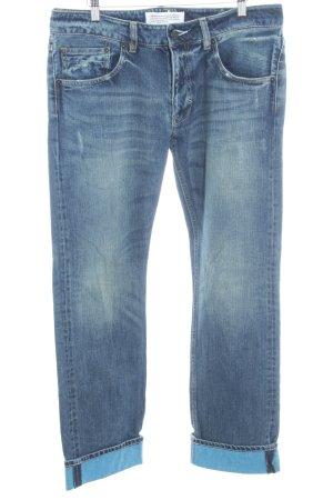 Adidas Originals Straight-Leg Jeans blau Destroy-Optik