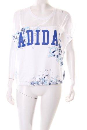 Adidas Oversized Shirt weiß-stahlblau abstraktes Muster sportlicher Stil