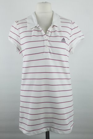 Adidas Poloshirt Gr. 42 weiß lila Streifen