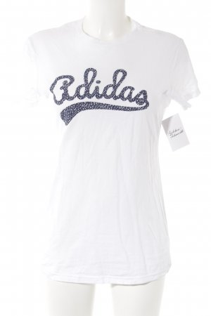 Adidas Print Shirt white-dark blue printed lettering athletic style