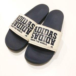 Adidas Retro Adiletten blau weiß 40 1/2 Blogger Trend Sommer Schuhe Flipflops Slides Badelatschen