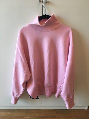 ADIDAS Rollkragen Sweatshirt in Pink mit schwarzem Aufdruck