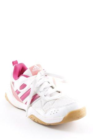 Adidas Schnürschuhe wollweiß-himbeerrot Streifenmuster Casual-Look