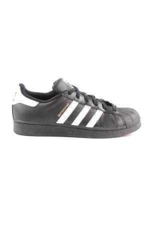 Adidas Schnürsneaker schwarz-weiß Schriftzug gedruckt Casual-Look