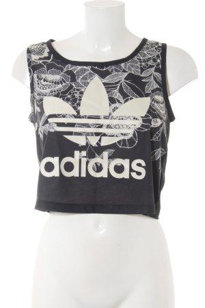 Adidas schulterfreies Top schwarz-creme florales Muster sportlicher Stil