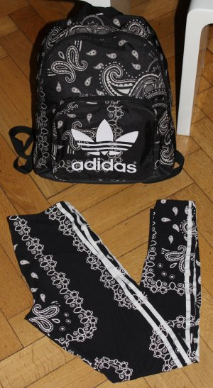 adidas Set Leggings Gr. S Rucksack schwarz weiß gemustert ausgefallen