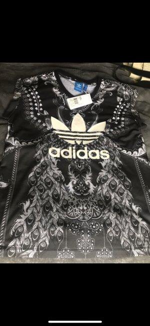 Adidas Shirt mit Pfau schwarz weiß gemustert