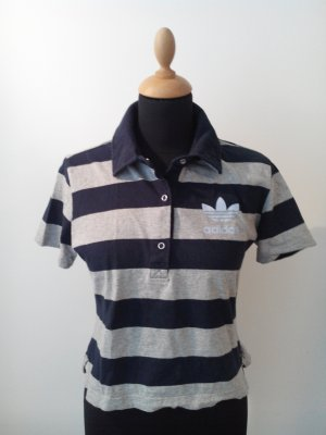 adidas shirt polo logo retro golf rugby maritim marine navy grau