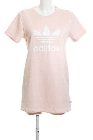 Adidas Vestido estilo camisa rosa-blanco letras impresas look casual