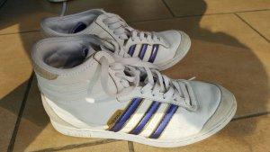 Adidas Sneakers High Top weiß beige lila 38 Leder Wildleder