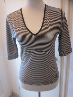 Adidas Sport Shirt Strech schwarz weiss gestreift Gr 38