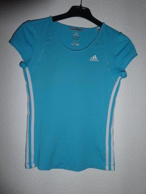 Adidas Sporthirt hellblau mit klassischen Streifen