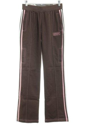 Adidas Sporthose braun-rosa Streifenmuster Casual-Look