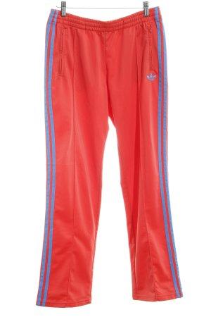 Adidas Sporthose rot-neonblau Streifenmuster Logostickerei