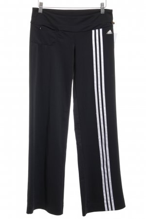 Adidas pantalonera negro-blanco estampado a rayas estilo deportivo