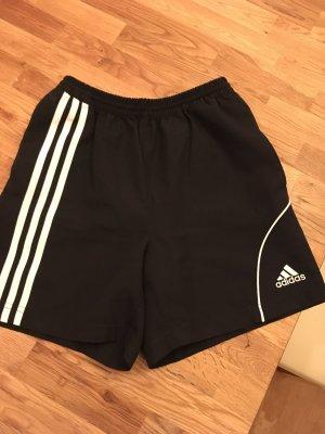 Adidas Sporthose Shorts schwarz mit weißen Streifen