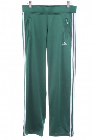 Adidas Trackies white-forest green striped pattern athletic style