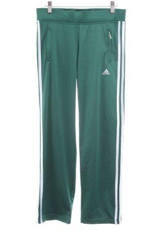 Adidas Sporthose weiß-waldgrün Streifenmuster sportlicher Stil