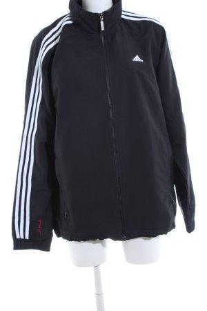 Adidas Sportjacke blau-weiß Schriftzug gedruckt Casual-Look