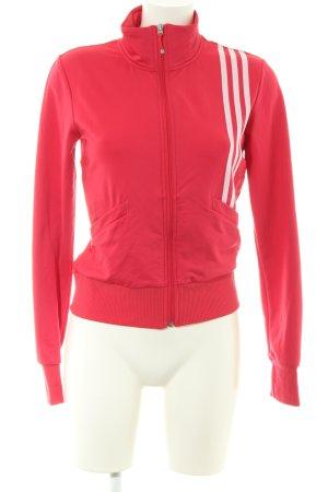 Adidas Sportjacke rot-weiß Streifenmuster Casual-Look