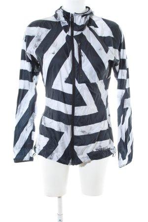 Adidas Sportjacke weiß-schwarz grafisches Muster Casual-Look