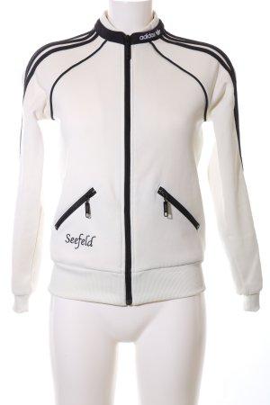 Adidas Sportjacke weiß-schwarz Schriftzug gedruckt Casual-Look