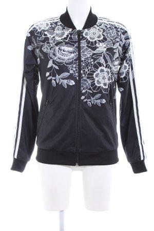 Adidas Sportjacke schwarz-weiß Blumenmuster Casual-Look