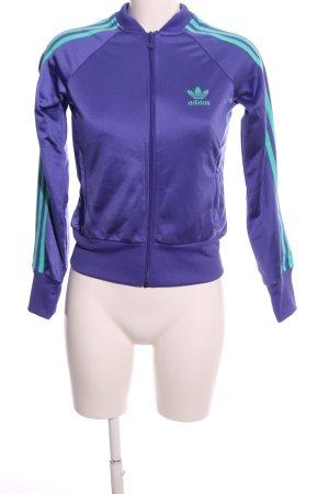 Adidas Sportjacke lila-türkis Schriftzug gedruckt Casual-Look