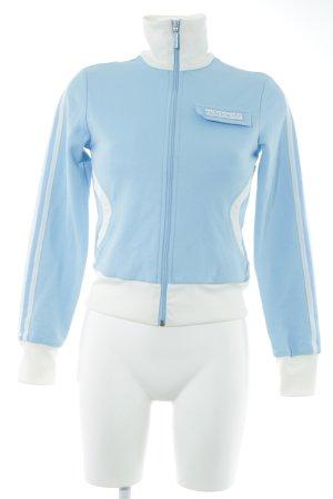 Adidas Veste de sport bleu clair-blanc cassé style athlétique