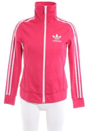 Adidas Sportjacke pink-weiß Streifenmuster Casual-Look