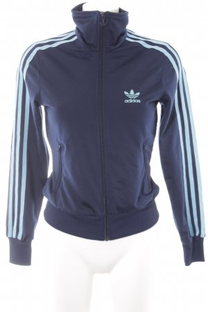 Adidas Sportjacke dunkelblau-hellblau Streifenmuster sportlicher Stil