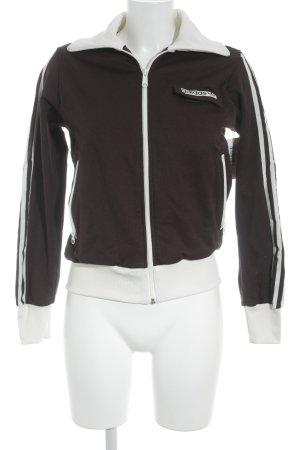 Adidas Sports Jacket dark brown-natural white striped pattern skater style