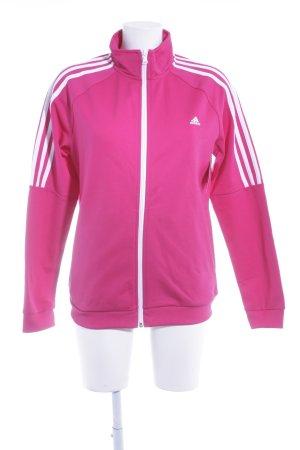 Adidas Veste de sport magenta motif rayé style décontracté