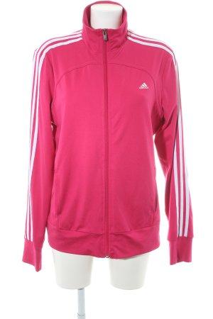 Adidas Sportjacke magenta-weiß Schriftzug gedruckt Casual-Look
