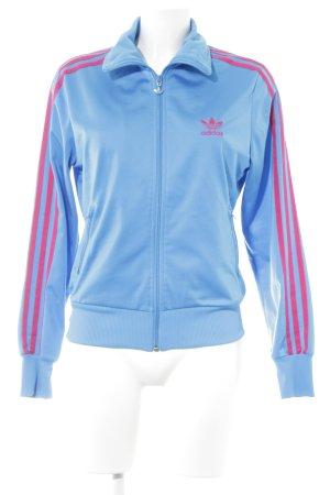 Adidas Sportjacke neonblau-magenta Motivdruck Casual-Look