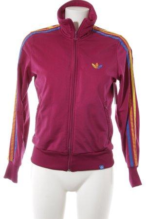 Adidas Sportjacke purpur Streifenmuster sportlicher Stil