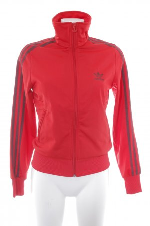 Adidas Sportjacke rot-bordeauxrot Streifenmuster Casual-Look