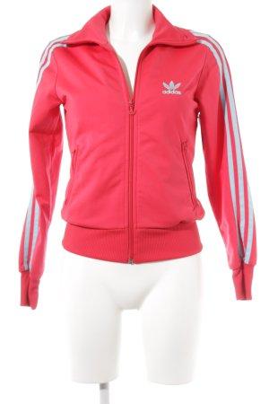 Adidas Sportjacke rot-hellblau Streifenmuster sportlicher Stil