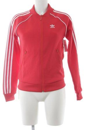 Adidas Sportjacke rot-weiß Streifenmuster sportlicher Stil