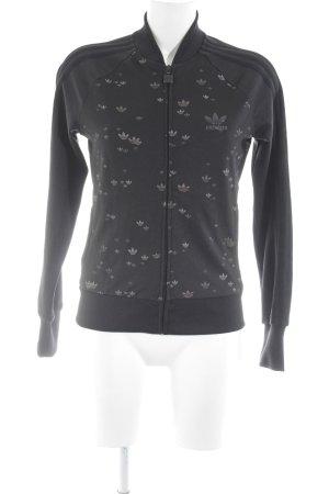 Adidas Sportjacke schwarz-graubraun abstraktes Muster Casual-Look