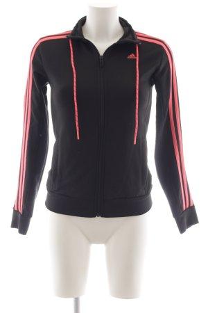 Adidas Sportjacke schwarz-hellrot Streifenmuster Casual-Look
