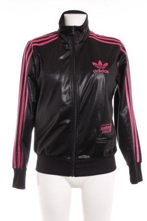 Adidas Sportjacke schwarz-magenta sportlicher Stil