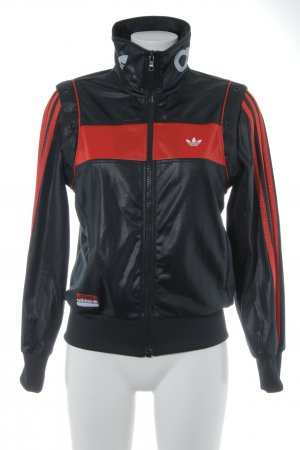 Adidas Giacca sport nero-rosso motivo a righe stile atletico