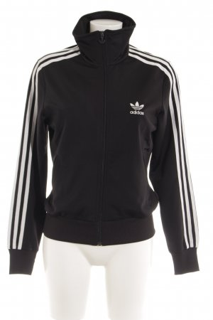 Adidas Sportjacke schwarz Streifenmuster Casual-Look